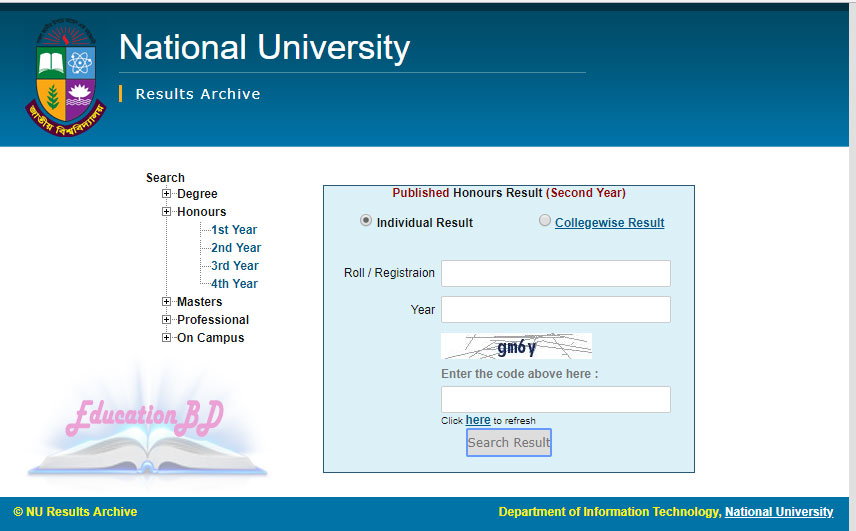 Nu Honours 2nd Year Result Online