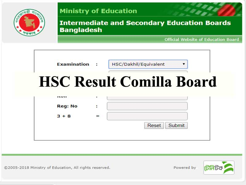HSC Result 2018 Comilla board with full marksheet