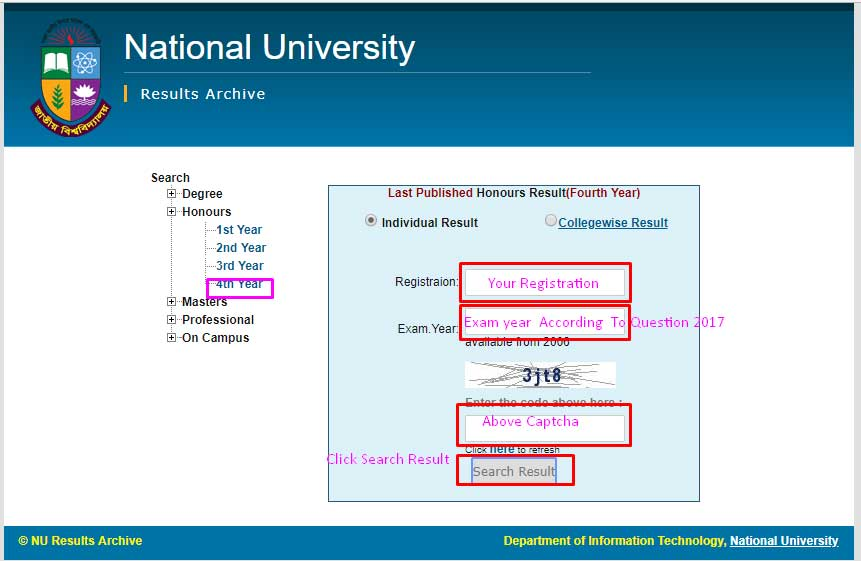 Nu Honours 4th Year Result Online