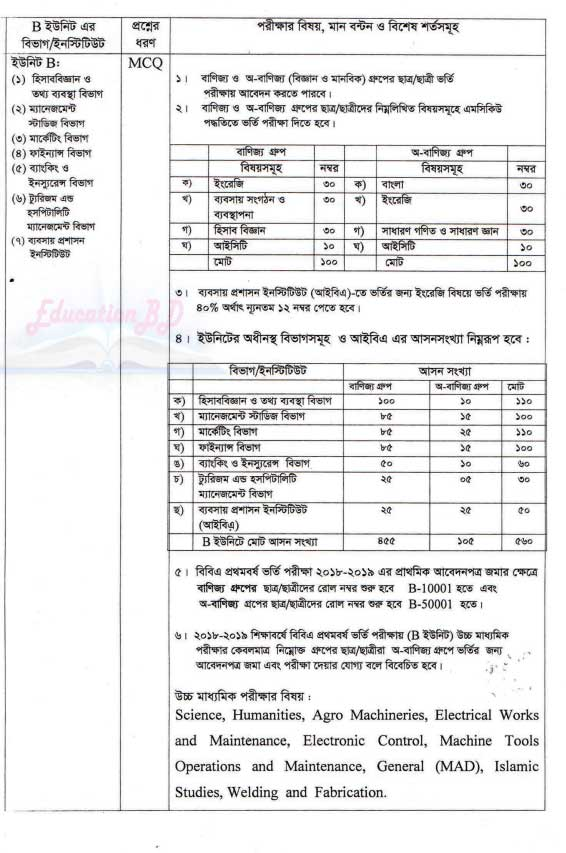 Rajshahi University B Unit Admission Circular 2019-20