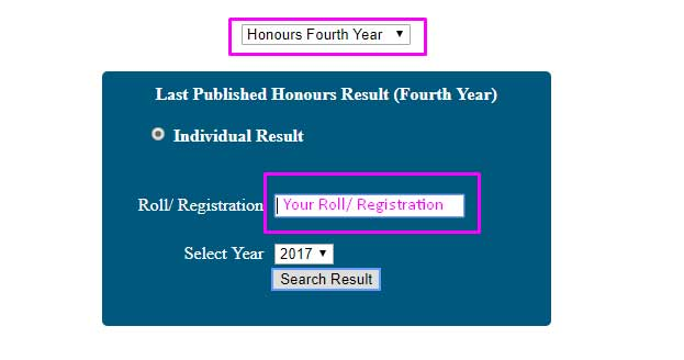 National University Honours 4th Year Result 2019