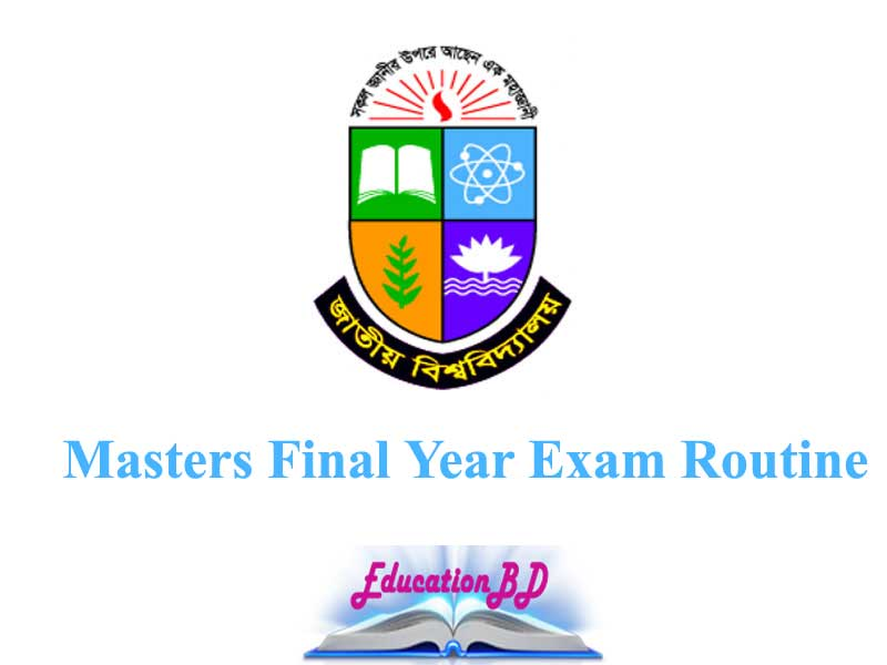 NU Masters Final Year Exam Routine 2019