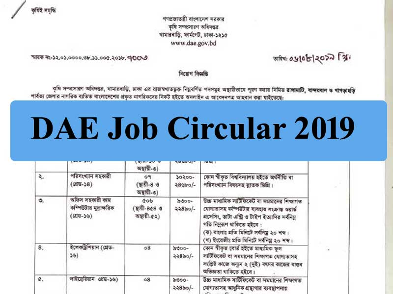 DAE Job Circular 2019- Department of Agricultural Extension