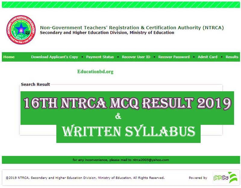 16th NTRCA Preliminary Result 2019