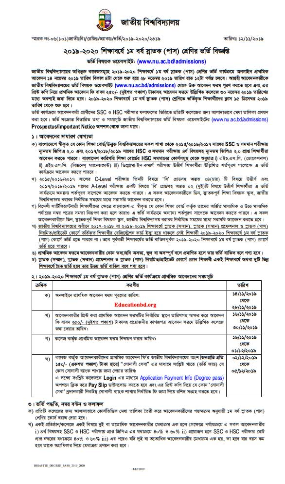 NU Degree Admission 2019