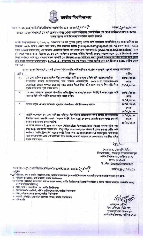 NU Degree Admission Result 2019