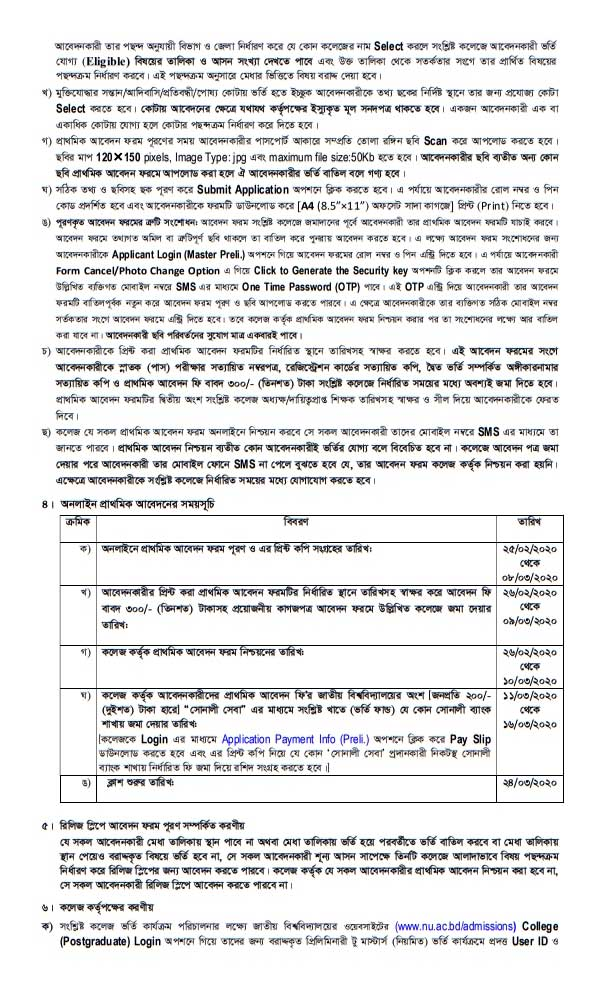 National University Masters Preliminary Admission Notice 2020