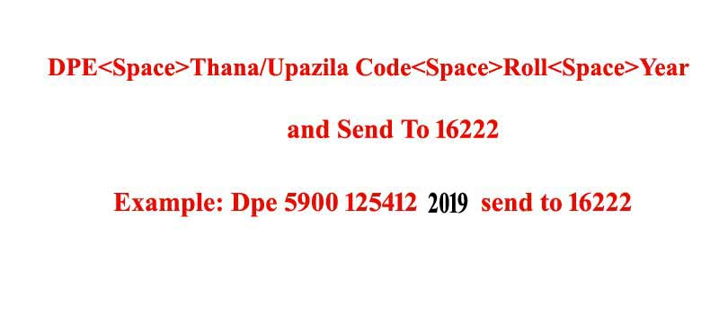 PSC Result 2019 Dhaka Board SMS Format