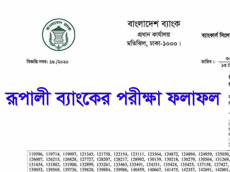 Rupali Bank Exam Result 2020