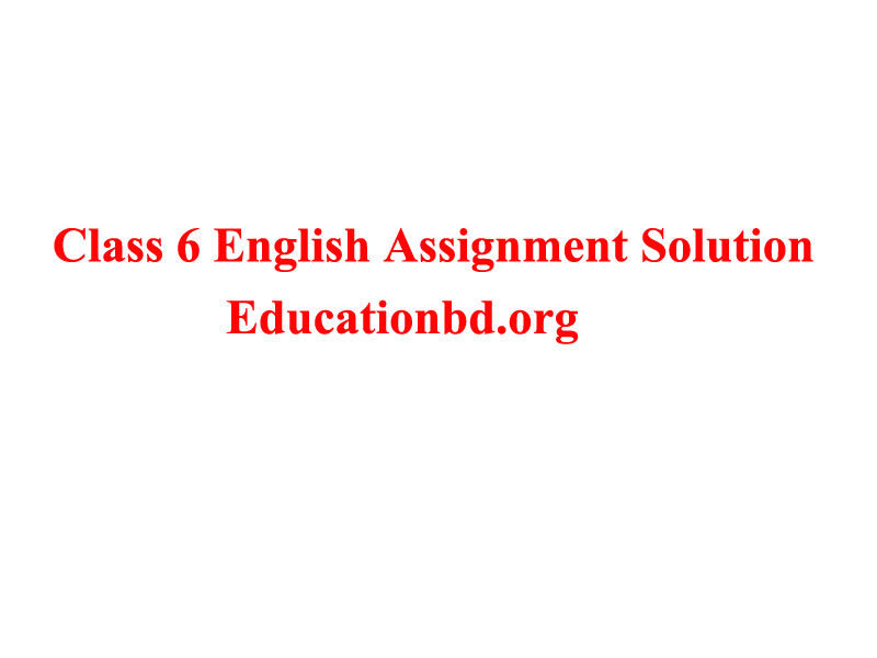 Class 6 English Assignment Solution